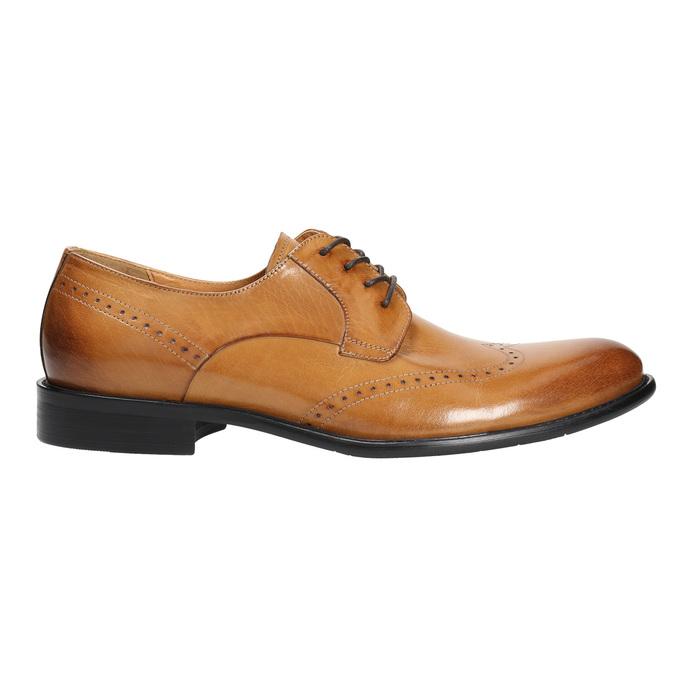Skórzane półbuty męskie ze zdobieniami brogue bata, brązowy, 824-3227 - 15