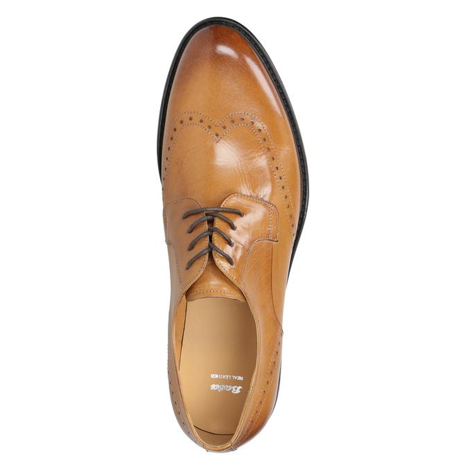 Skórzane półbuty męskie ze zdobieniami brogue bata, brązowy, 824-3227 - 19