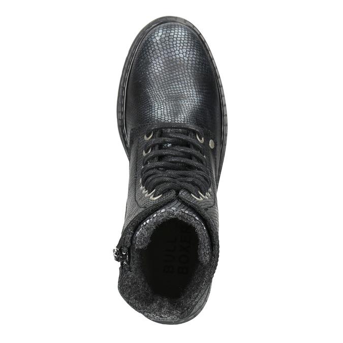 Dziecięce sznurowane buty ze skóry bullboxer, czarny, 496-6016 - 15