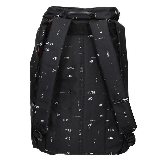 Plecak znadrukiem i wzorzystą wstawką, czarny, 969-6076 - 16