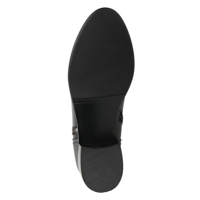 Skórzane botki ze złotymi zamkami błyskawicznymi bata, czarny, 594-6654 - 19