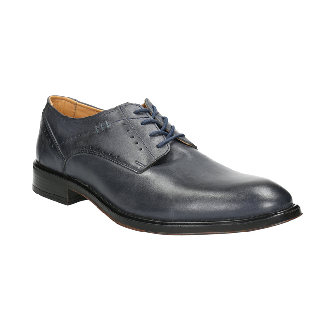 Granatowe skórzane półbuty męskie bata, niebieski, 826-9913 - 13