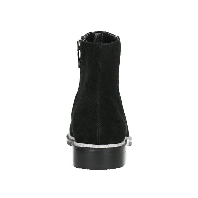 Skórzane botki ze srebrnym wykończeniem bata, czarny, 593-6603 - 17