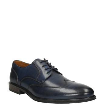 Granatowe skórzane półbuty męskie bata, niebieski, 826-9914 - 13