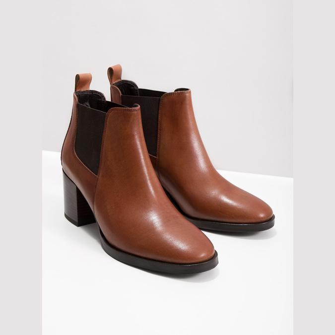 Skórzane botki na obcasach bata, brązowy, 694-4641 - 14