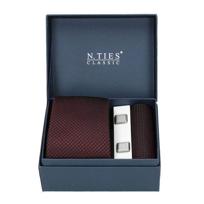 Komplet krawatu, poszetki ispinek do mankietów bata, czerwony, 999-5293 - 13