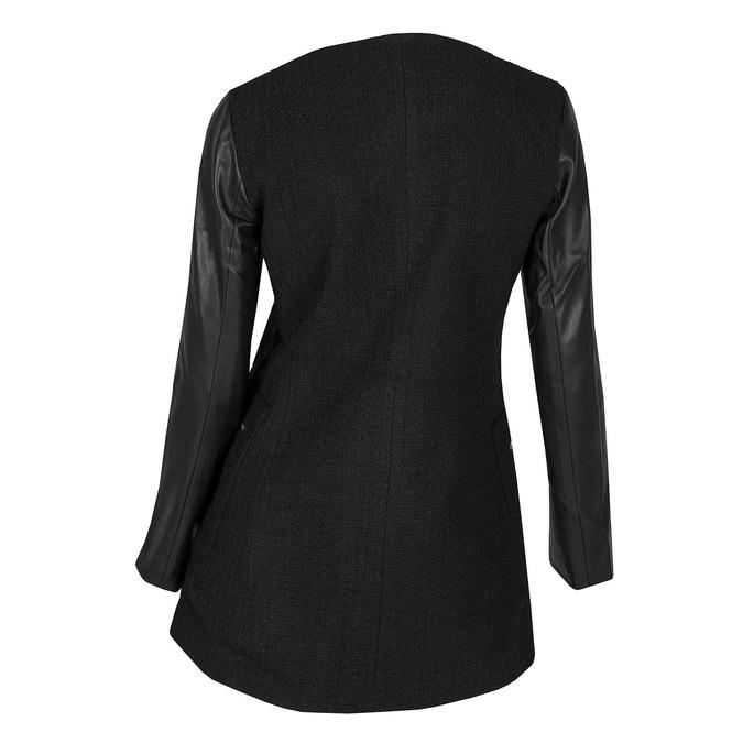 Damski płaszcz zrękawami ze skóry ekologicznej bata, czarny, 979-6153 - 26
