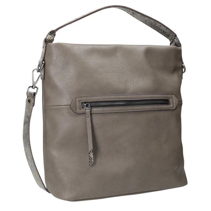 Skórzana torebka damska wstylu hobo, zpaskiem gabor-bags, brązowy, 961-8029 - 13