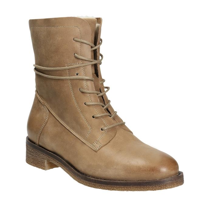 Skórzane buty sznurowane damskie bata, brązowy, 596-4663 - 13