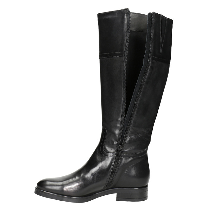 Damskie skórzane kozaki bata, czarny, 594-6606 - 15