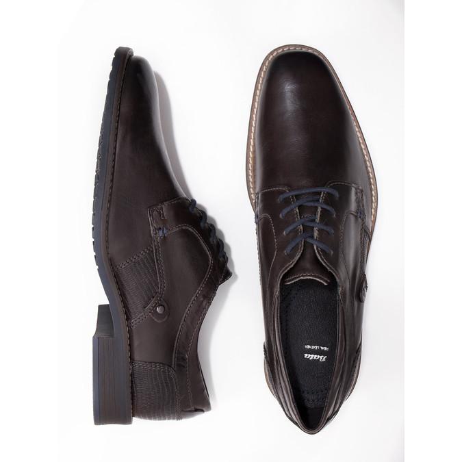 Nieformalne skórzane półbuty zfakturą bata, szary, 826-2612 - 18
