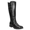 Skórzane kozaki z elastycznym paskiem bata, czarny, 596-6655 - 13