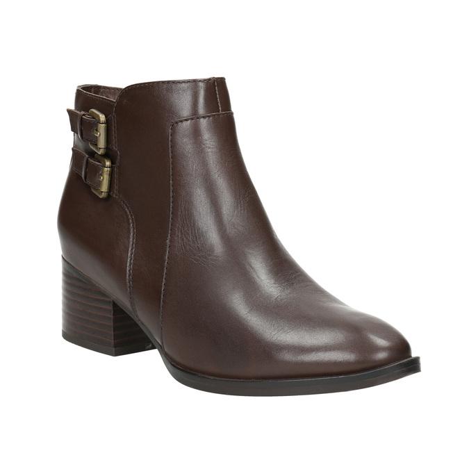 Skórzane botki zklamrami bata, brązowy, 696-4650 - 13