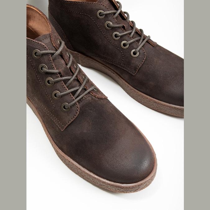 Skórzane buty męskie za kostkę bata, brązowy, 846-4653 - 14