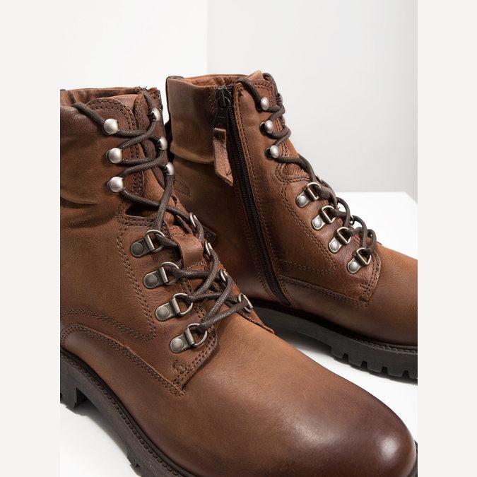 Skórzane obuwie za kostkę bata, brązowy, 896-3663 - 14