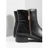 Skórzane botki ze złotymi zamkami błyskawicznymi bata, czarny, 594-6654 - 14