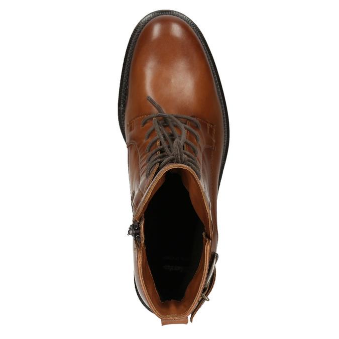 Skórzane kozaki damskie bata, brązowy, 596-4680 - 15