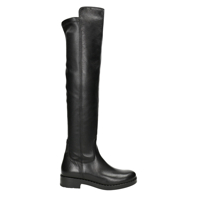 Skórzane kozaki damskie za kolana bata, czarny, 596-6682 - 26