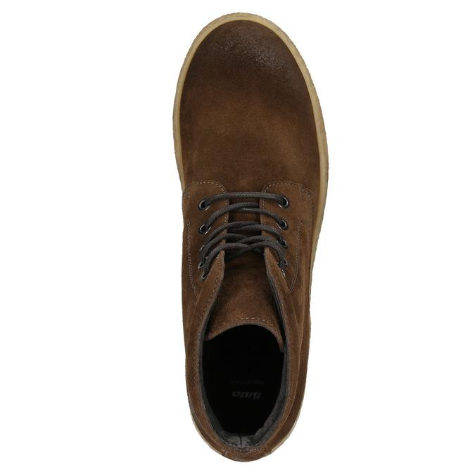 Brązowe skórzane buty za kostkę bata, brązowy, 843-3632 - 26