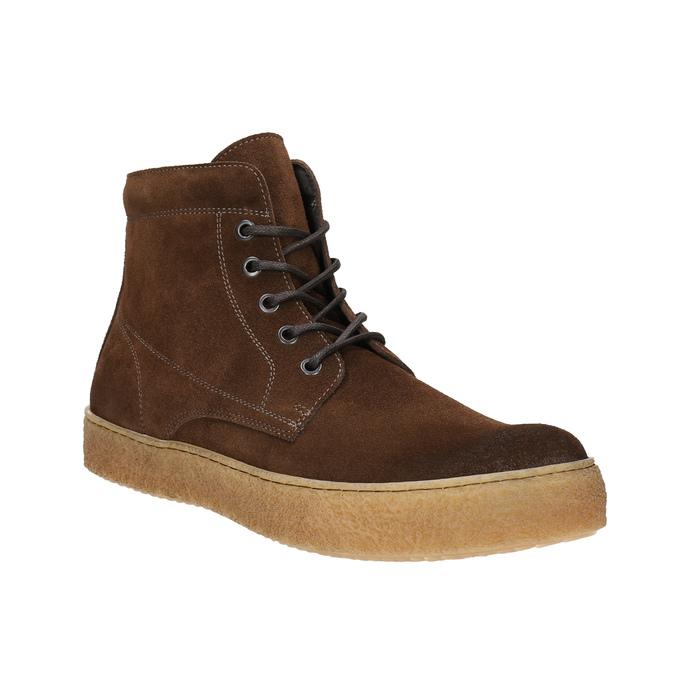 Brązowe skórzane buty za kostkę bata, brązowy, 843-3632 - 13