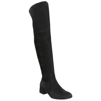 Skórzane kozaki damskie za kolana bata, czarny, 693-6604 - 13