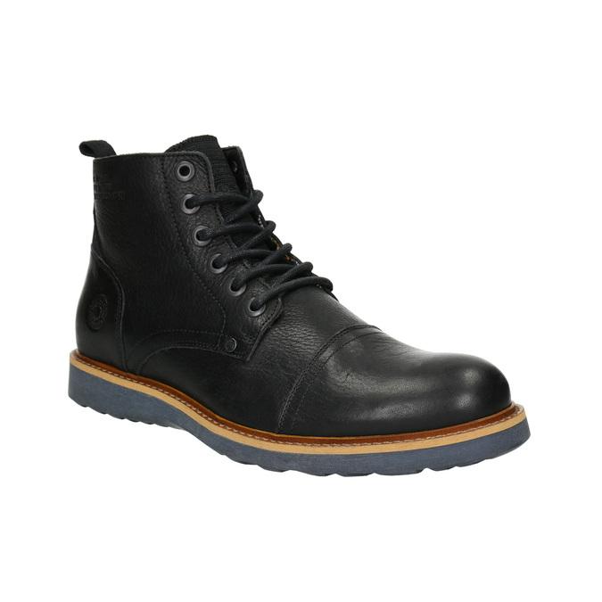 Skórzane buty męskie za kostkę bata, czarny, 896-6667 - 13