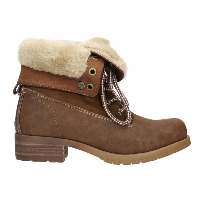 Buty za kostkę z kożuszkiem bata, brązowy, 591-4618 - 15