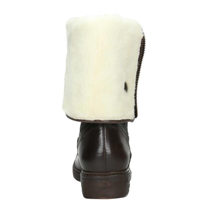 Damskie kozaki skórzane zociepliną manas, brązowy, 593-3609 - 16