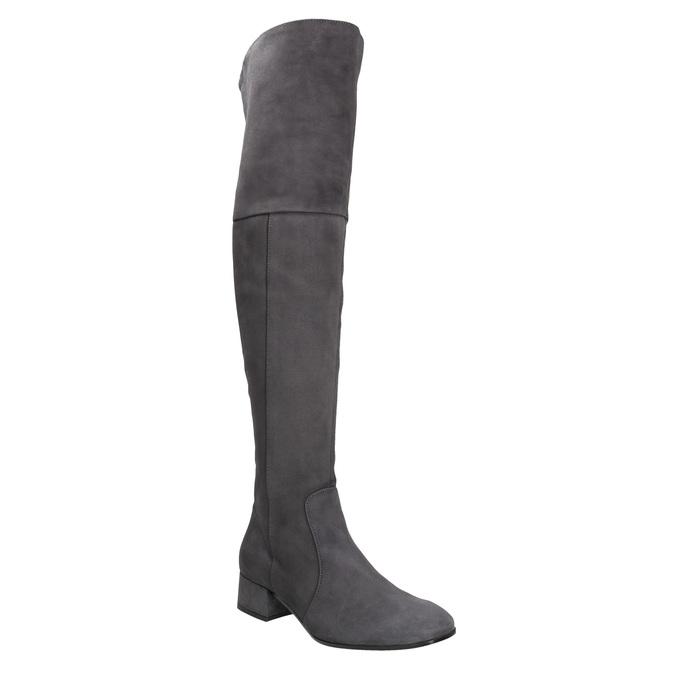 Skórzane kozaki damskie za kolana bata, szary, 693-2604 - 13