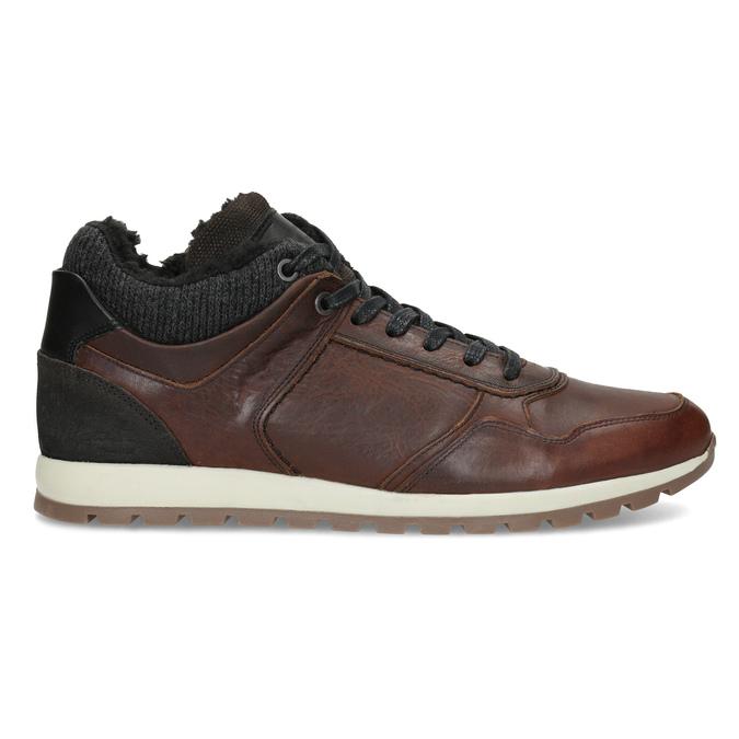 Brązowe skórzane trampki męskie zociepliną bata, brązowy, 846-4646 - 19
