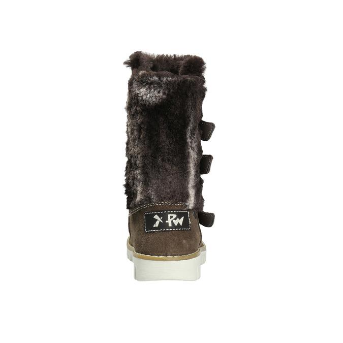 Skórzane kozaczki dziewczęce z futerkiem mini-b, brązowy, 393-4606 - 17