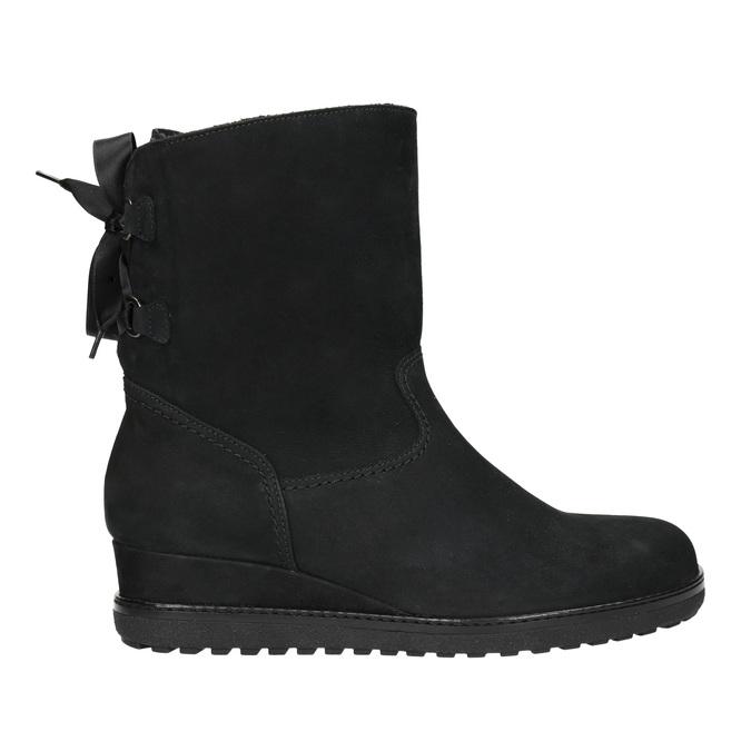 Skórzane obuwie typu ugg na koturnach gabor, czarny, 616-6011 - 15