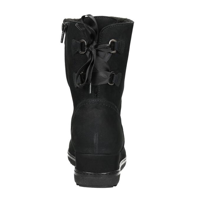Skórzane obuwie typu ugg na koturnach gabor, czarny, 616-6011 - 17
