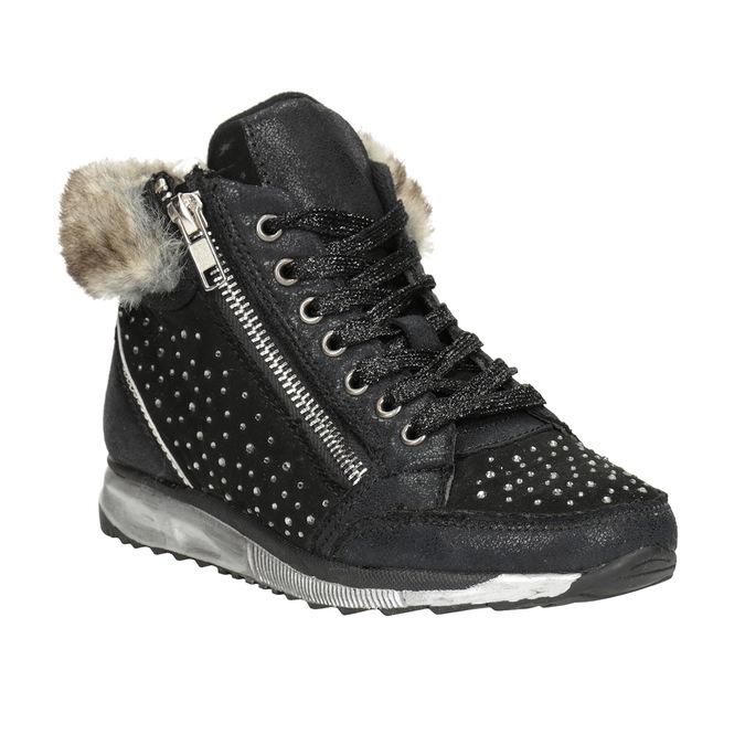 Zimowe obuwie dziecięce zkryształkami mini-b, czarny, 329-6287 - 13