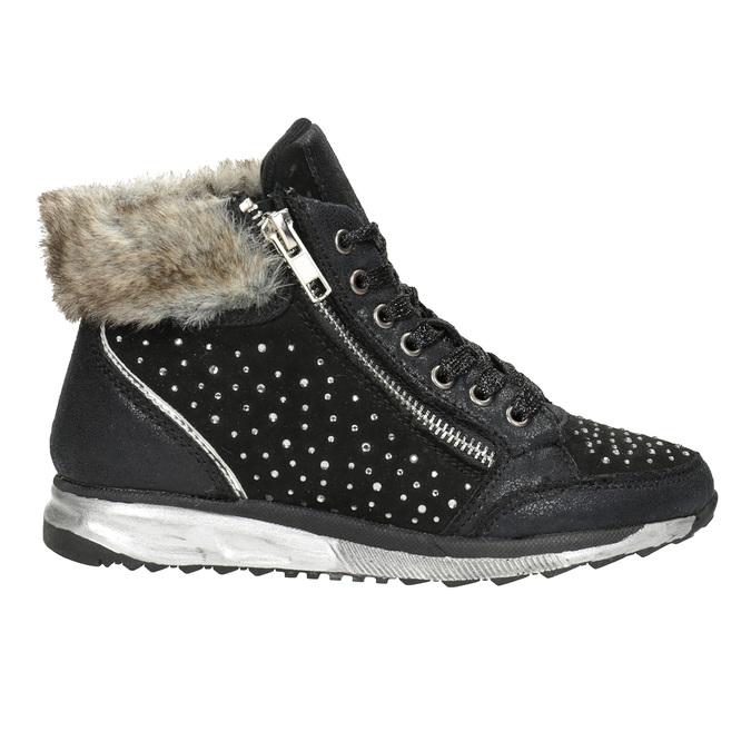 Zimowe obuwie dziecięce zkryształkami mini-b, czarny, 329-6287 - 26