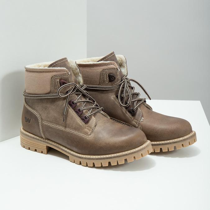 Skórzane buty zimowe zfuterkiem weinbrenner, brązowy, 594-2491 - 18