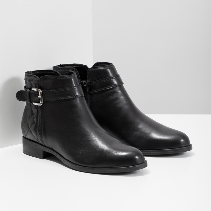 Skórzane botki zklamrami bata, czarny, 594-6662 - 26