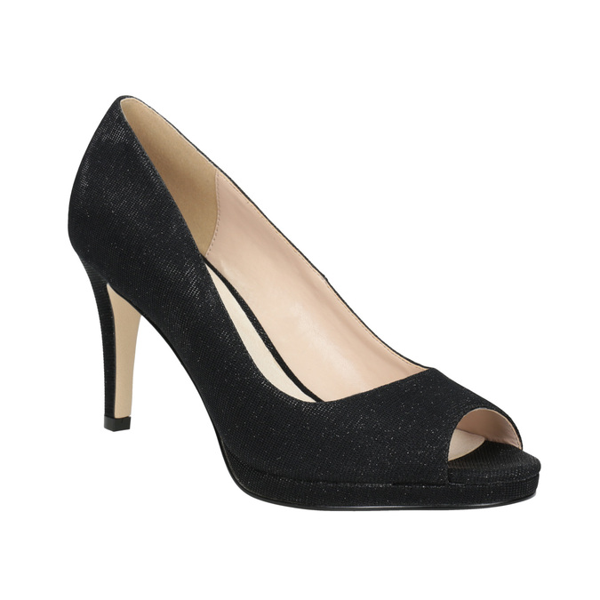 Czółenka zotwartymi noskami bata, czarny, 729-6610 - 13