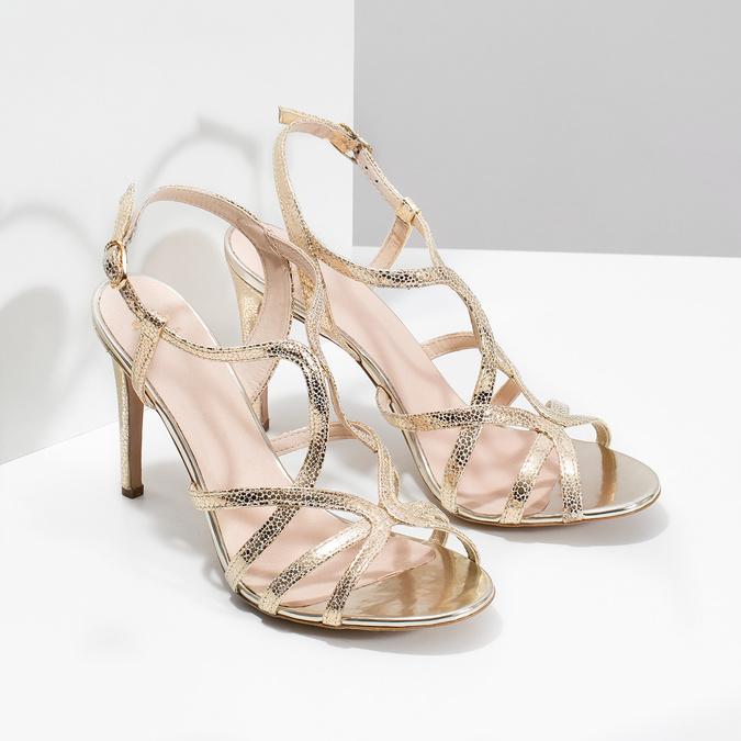 Wyjściowe złote sandały ze skóry bata, 726-8648 - 26
