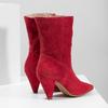 Czerwone skórzane kozaki wszpic bata, czerwony, 793-5612 - 16