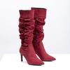 Czerwone kozaki damskie zmarszczeniami bata, czerwony, 799-5619 - 26