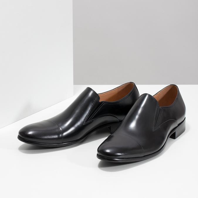 Skórzane mokasyny męskie bata, czarny, 814-6626 - 16