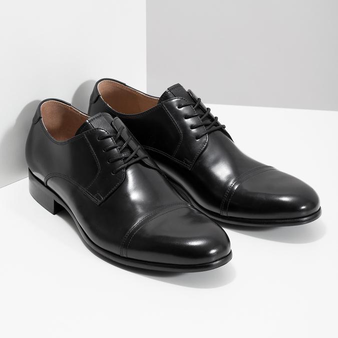 Czarne skórzane półbuty typu angielki bata, czarny, 824-6863 - 26