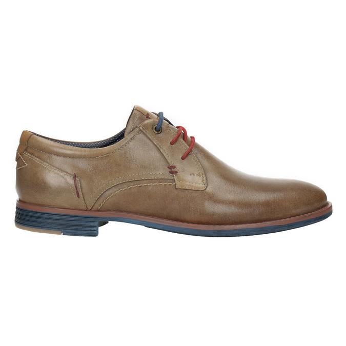 Skórzane półbuty zkolorowymi sznurówkami bata, brązowy, 826-4928 - 26