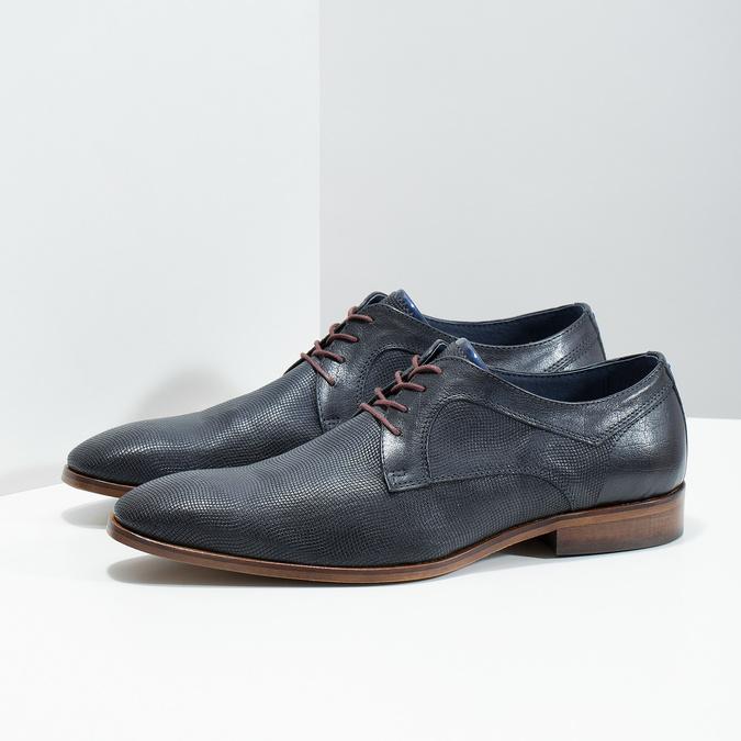 Granatowe skórzane półbuty zfakturą bata, niebieski, 826-9825 - 16