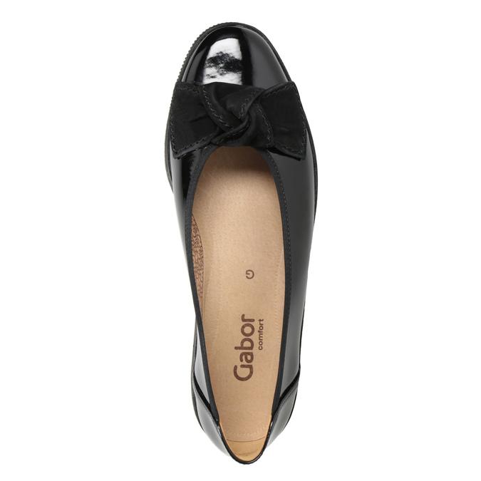 Skórzane baleriny damskie gabor, czarny, 628-6058 - 15