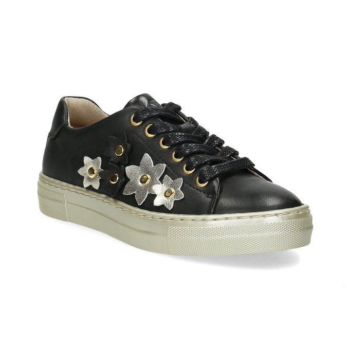 Skórzane trampki zkwiatkami mini-b, czarny, 324-6606 - 13