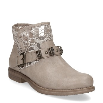 Kozaki damskie zkoronką bata, szary, 591-2628 - 13