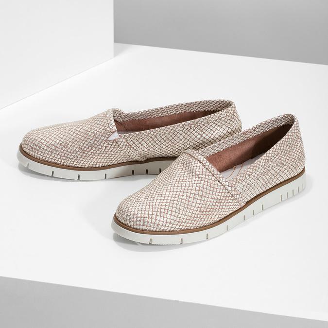 Skórzane obuwie damskie typu slip-on na kontrastowej podeszwie flexible, 536-5603 - 16