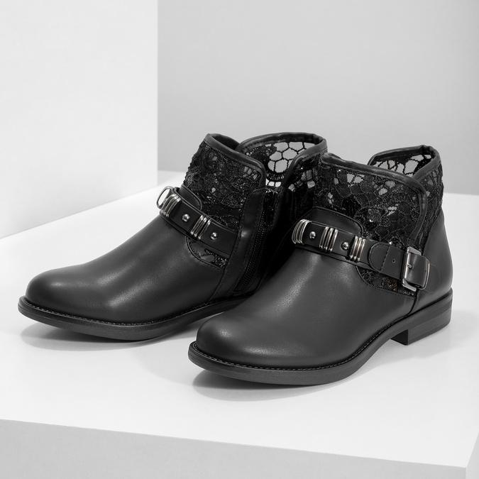 Czarne kozaki zkoronką bata, czarny, 591-6628 - 16